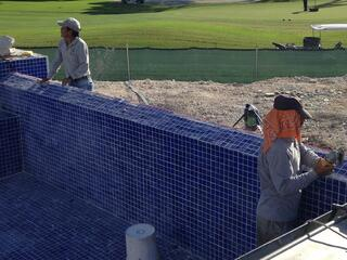 resurfacing pool with a very nice glass tile finish